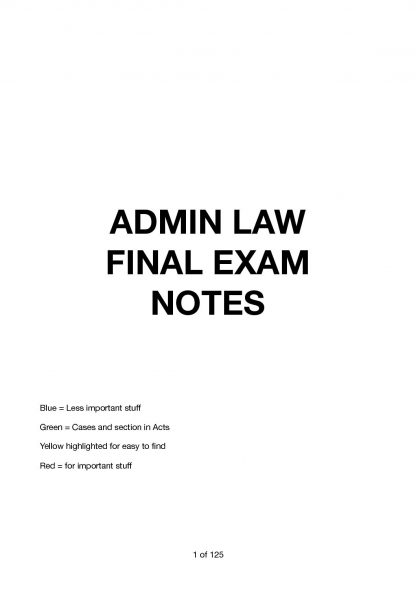 70617 – Administrative Law (UTS) JR exam notes with mind maps
