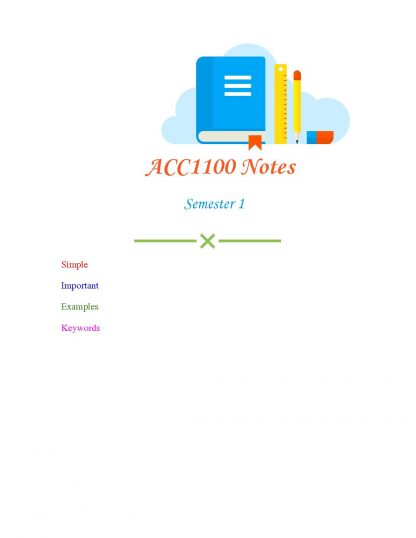 ACC1100 – Introduction to financial accounting Full HD Lecture Notes