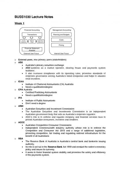 Accounting, Business and Society – BUSS1030 Notes