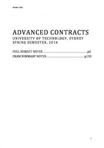 Advanced Contracts – 76047 summary notes for exam