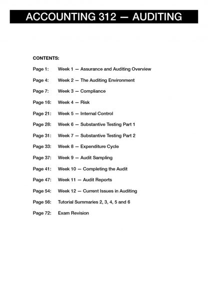 Auditing (ACCTG 312) Lecture & Tutorial summaries with Exam Revision