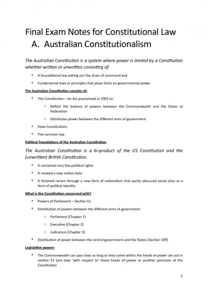 Australian Constitutional Law (70616) all topics notes – Distinction
