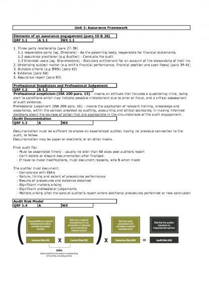 CA AAA – Audit and Assurance (AAA217) critical file