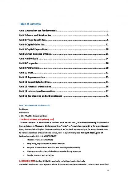 CA TAX 219 (Taxation Australia) notes