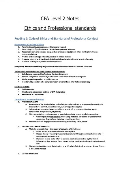CFA Level 2 Comprehensive Summary Notes – All Modules