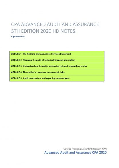 CPA Advanced Audit and Assurance (AAA) 5th Edition 2020 HD notes