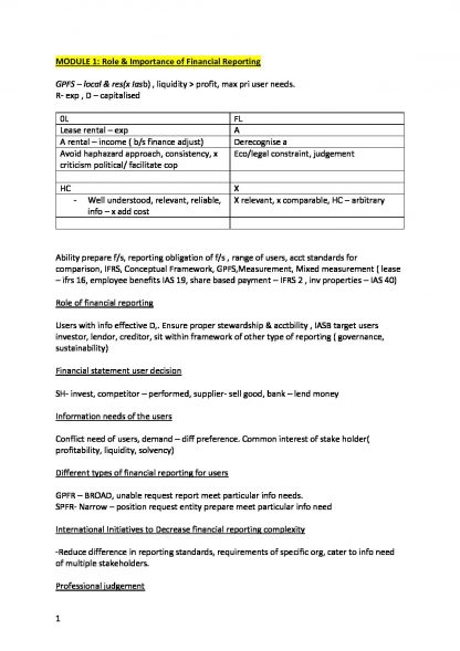 CPA Financial Reporting (FR) summarised notes with key points