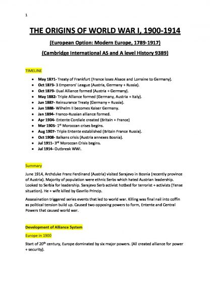 Cambridge International AS and A Level History (9389) full notes