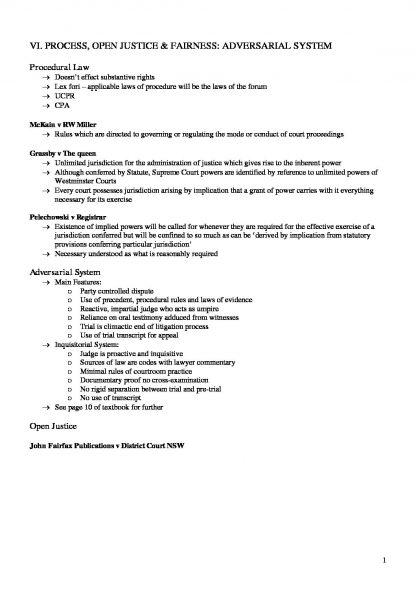 Civil Procedure Course Notes (LAWS1014)