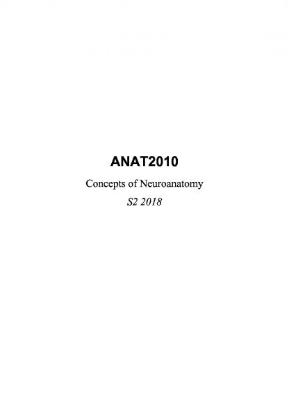Concepts of Neuroanatomy (ANAT2010) complete summary notes
