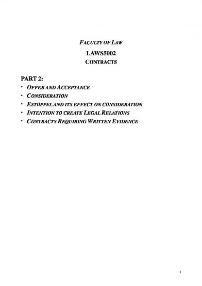 Contracts Law (LAWS1015 & LAWS5002) complete outline