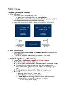 Corporate Finance 1 (FINC2011) Lecture Notes