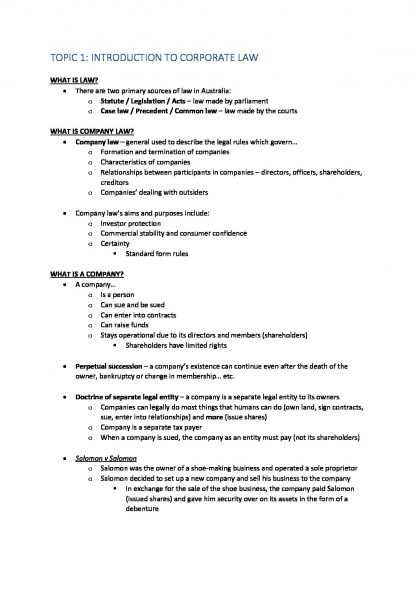 Corporate Law (BLAW20001) Notes – H1 Marks