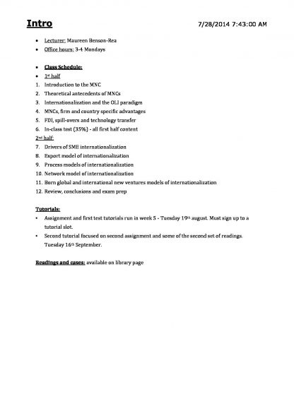 INTBUS 300 Firms across Frontiers course summary notes