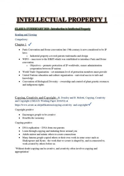 Intellectual Property 1 (LAWS3046) Complete Notes