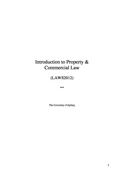 Intro to Property and Commercial Law (LAWS2012) course summary