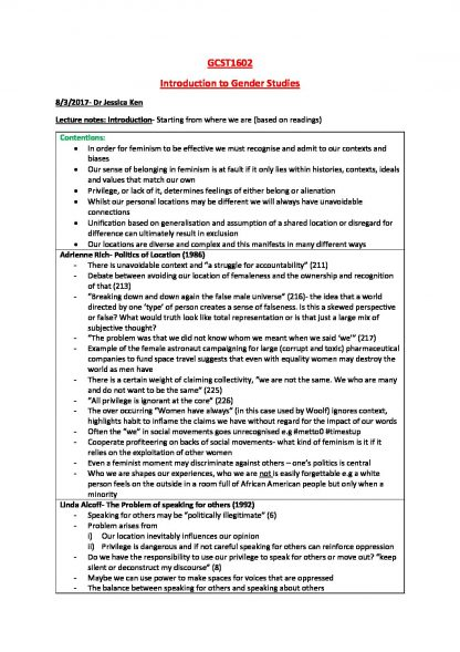 Introduction to Gender Studies (GCST1602) summaries