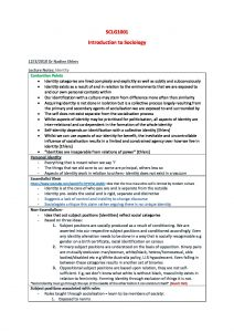 Introduction to Sociology 1 – SCLG1001 comprehensive summaries