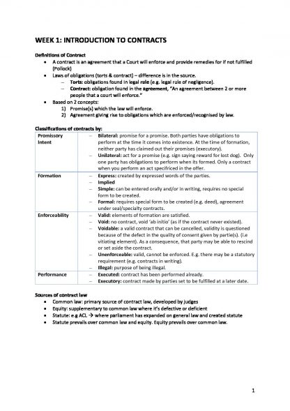 LAWS1200 – Contracts weekly lectures summary notes