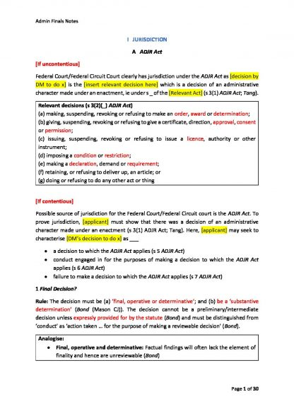 LAWS2201- Administrative Law final exam notes