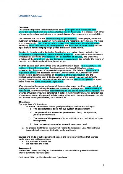 Public Law (LAWS5007) Detailed notes