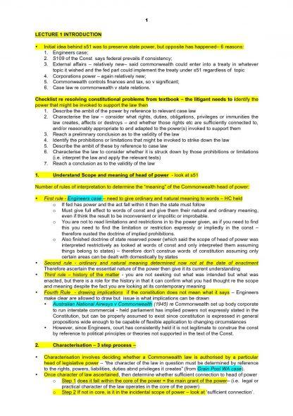 LPAB 06 Australian Constitutional Law (LEC) exam notes