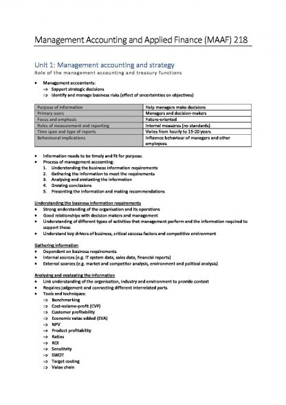 MAAF218 – CA Management Accounting and Applied Finance notes