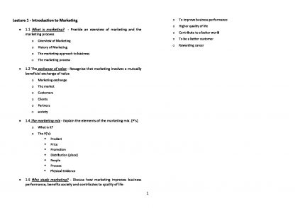 MKTG1001 – Marketing Fundamentals complete HQ notes