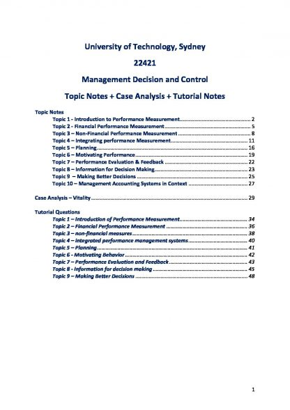 Management Decisions and Control (22421) tutorial, topic & case analysis notes