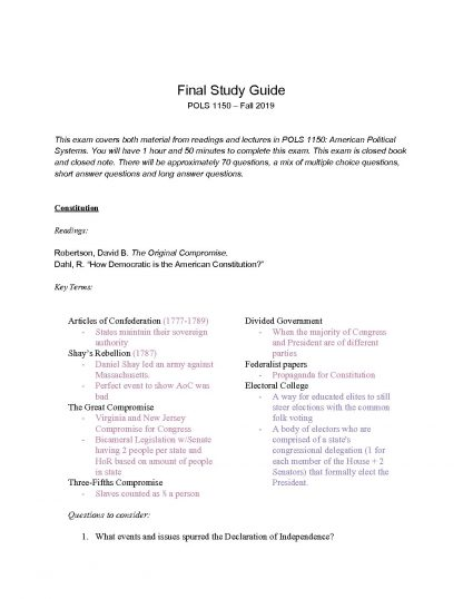 POLS 1150 – American Political Systems final study guide