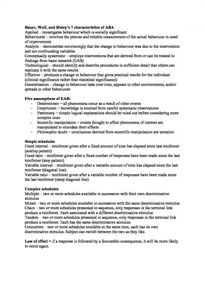 PSYCH 203: Learning and Behaviour exam summary notes