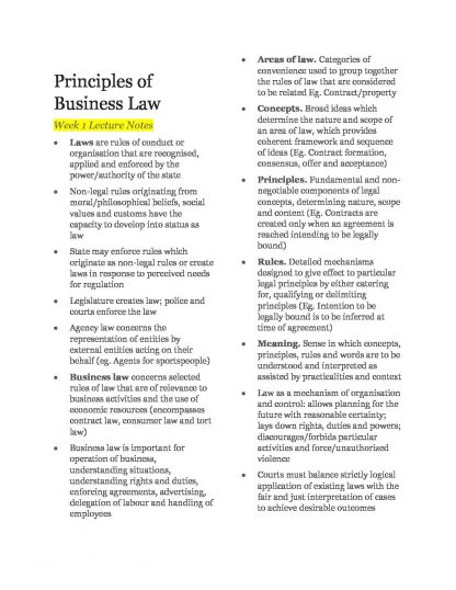 Principles of Business Law (BLAW10001) Lecture Notes