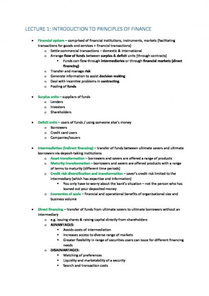 Principles of Finance (FNCE10002) lecture notes