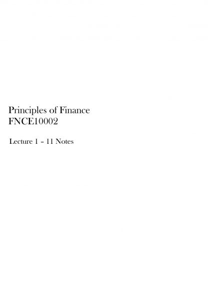 Principles of Finance (FNCE10002) lecture summaries + graphs