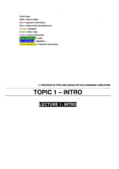 Secured Transactions in Commercial Law (LAWS3484 & LAWS5184) notes