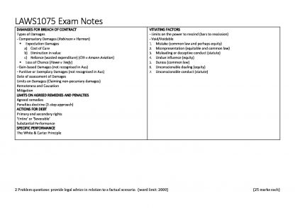 UNSW LAWS1075 – Contracts exam notes