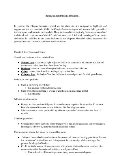CJUS 3201: Criminal Law Exam 1 review – UNT