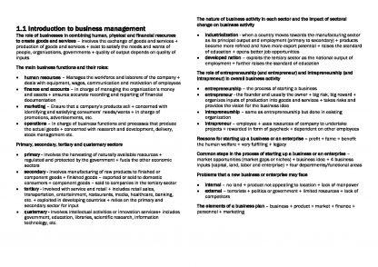 IB Business Management SL summary notes