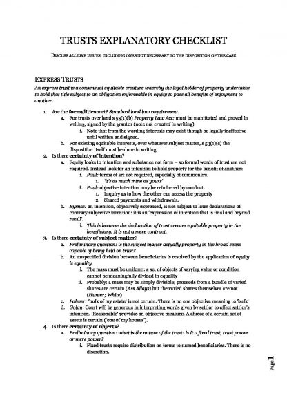 LAWS50033: Equity and Trusts exam notes with checklist