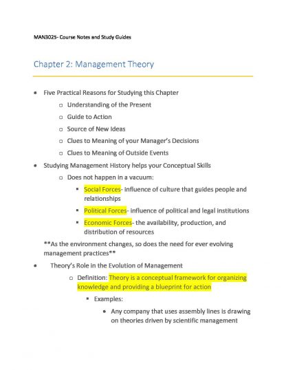 MAN 3025: Principles of Management complete notes