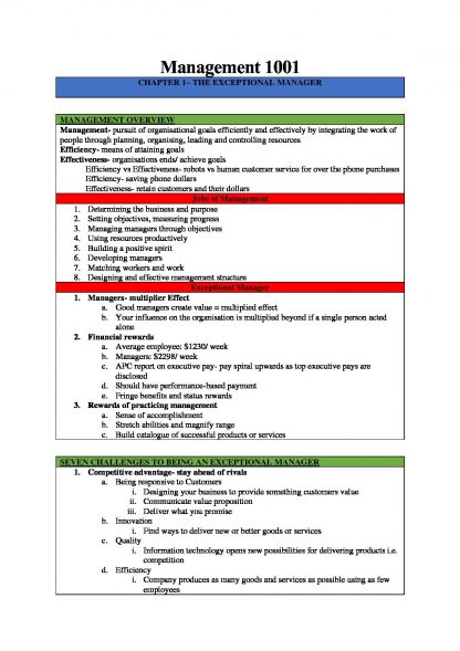 MGMT1001: Global Business Environment notes