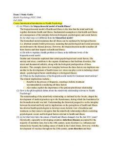 PSYC 3360 – Health Psychology all exam notes