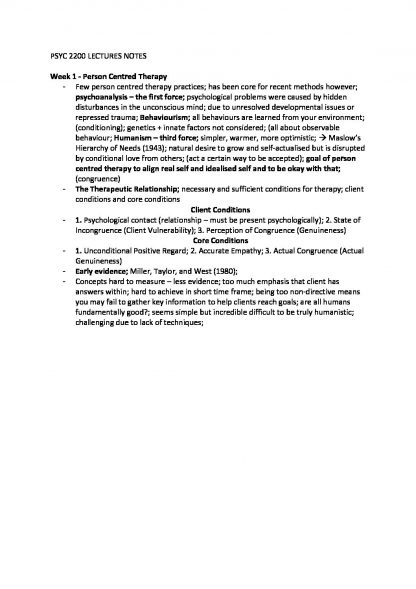PSYC2200: Foundations of Psychological Interventions notes