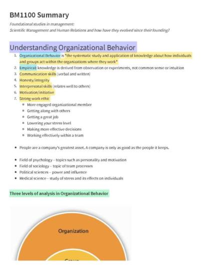 Introduction to Management (BM1100) course summary