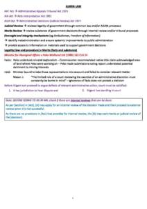 Administrative Law (LAW4331) exam skeleton