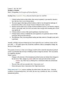 International Politics of Economic Relations (POLI 243) full lecture notes