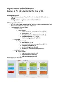 Organisational Behaviour (MGMT2000) full lecture notes