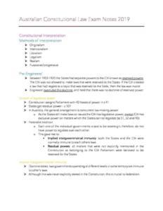 Australian Constitutional Law (LAW 2501) exam notes