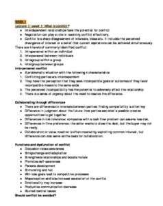 Conflict Management (Psychology) English summary notes