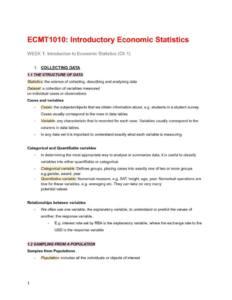Introduction to Economic Statistics (ECMT1010) complete notes HD